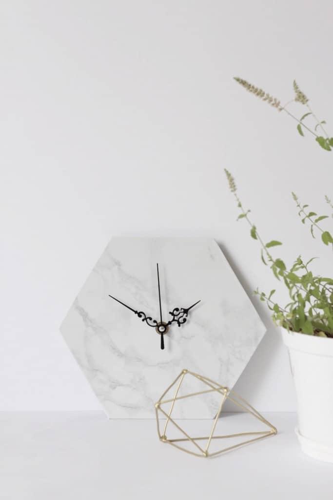 Hexagon marble clock