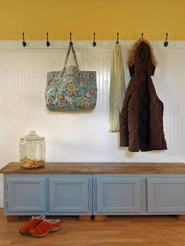 Kitchen cabinet mudroom bench