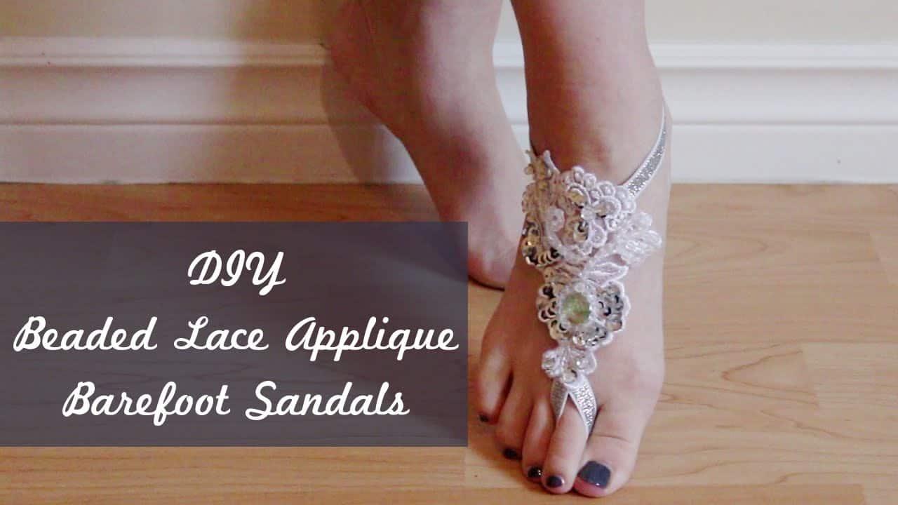 Lace applique barefoot sandals