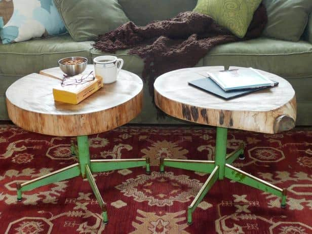 Log and chair leg end tables