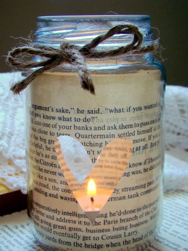 Mason jar book candle