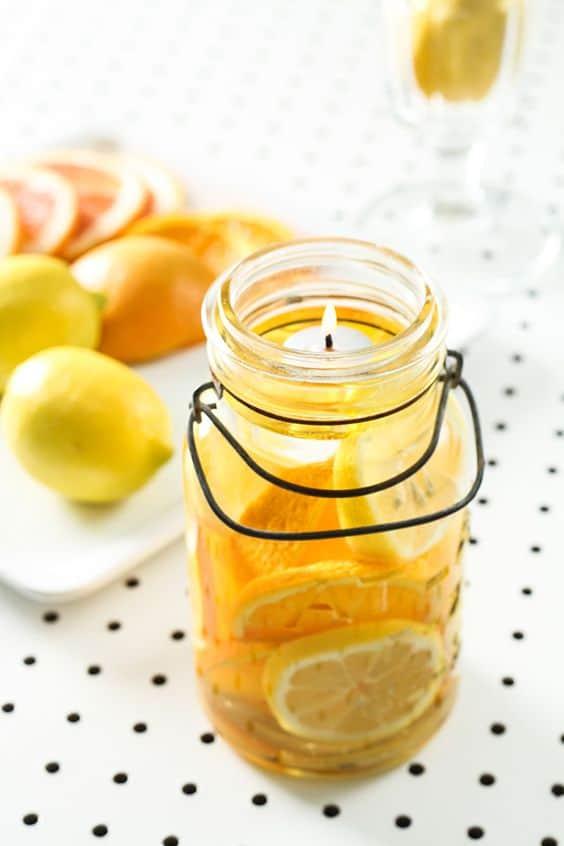 Mason jar fruit candle