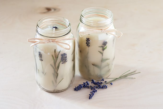 Mason jar herb candle