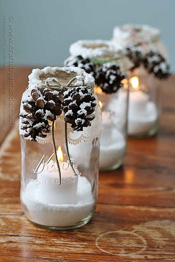 Mason jar pinecone candles