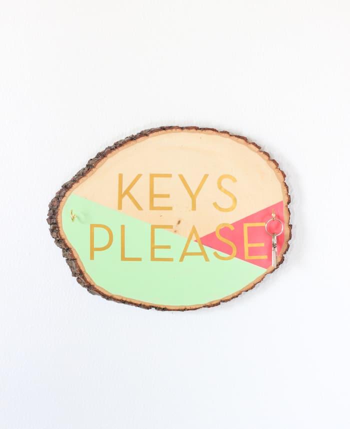 Painted wood slice key holder