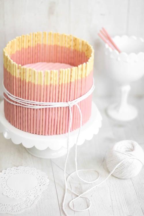 Pink pocky cake