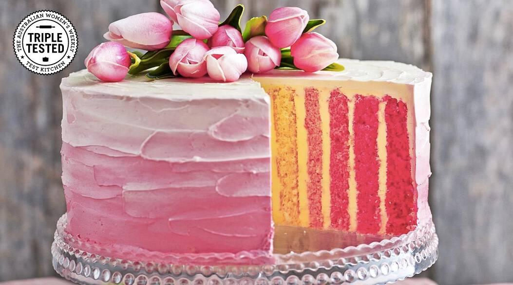 Pink vertical stripe cake