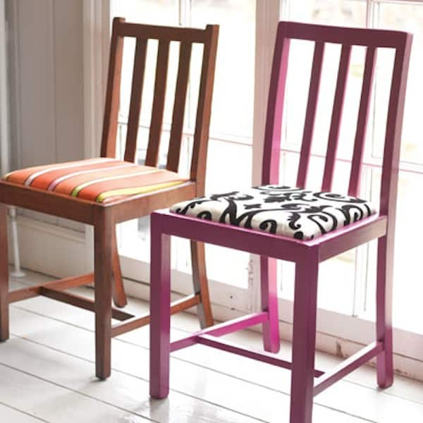 Reupholstered painted chairs