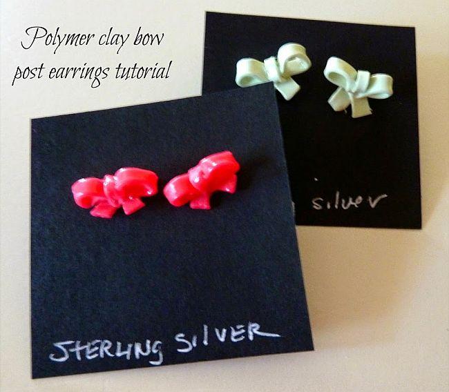 Tiny bow studs earrings
