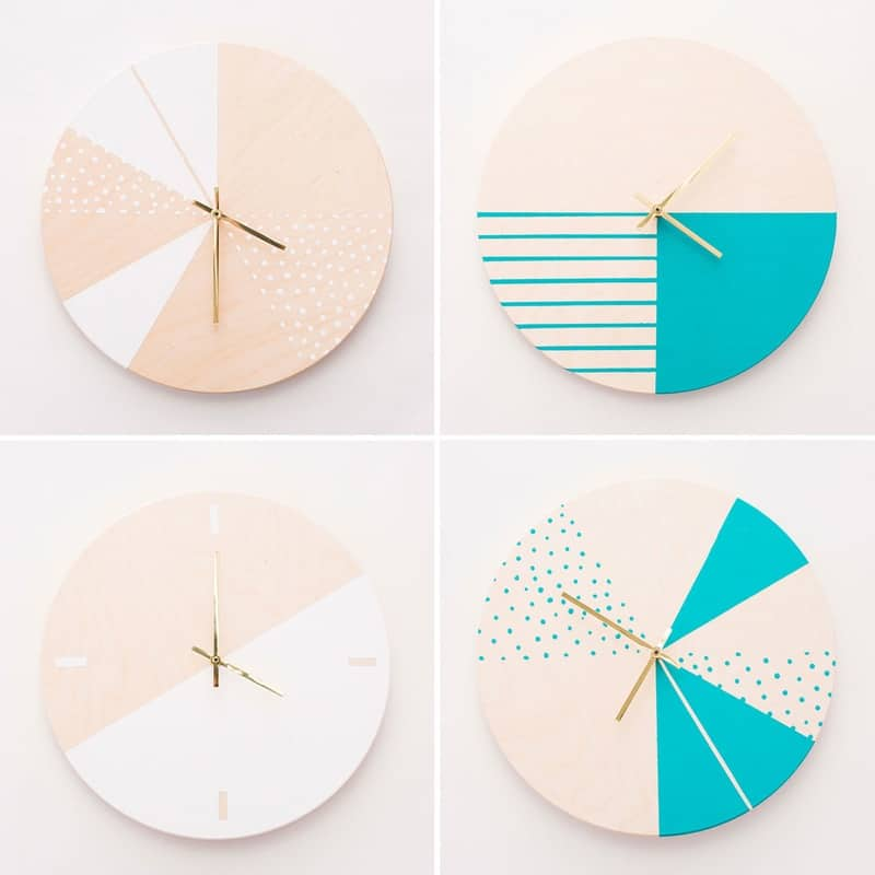 White and turquoise geometric clocks