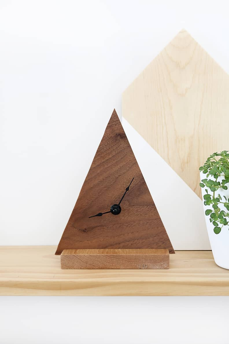 Wooden triangle clock