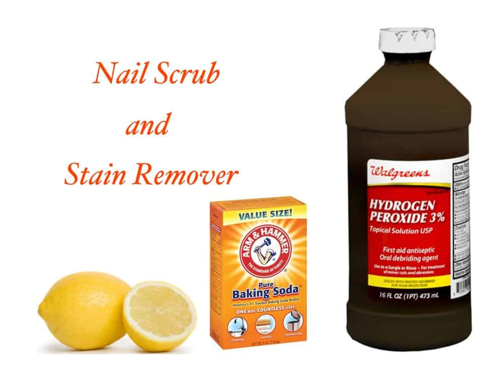 Baking soda nail scrub and stain remover