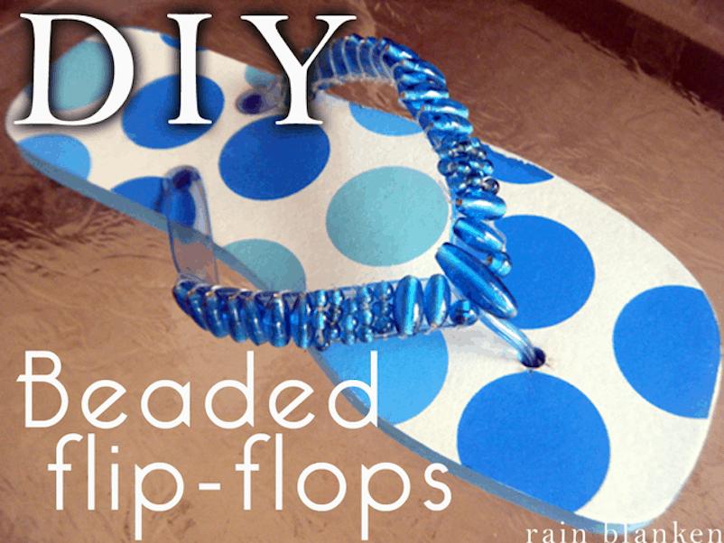 Beaded strap flip flops