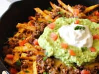 Beef nacho French fries 200x150 15 Unconventional Homemade French Fry Recipes
