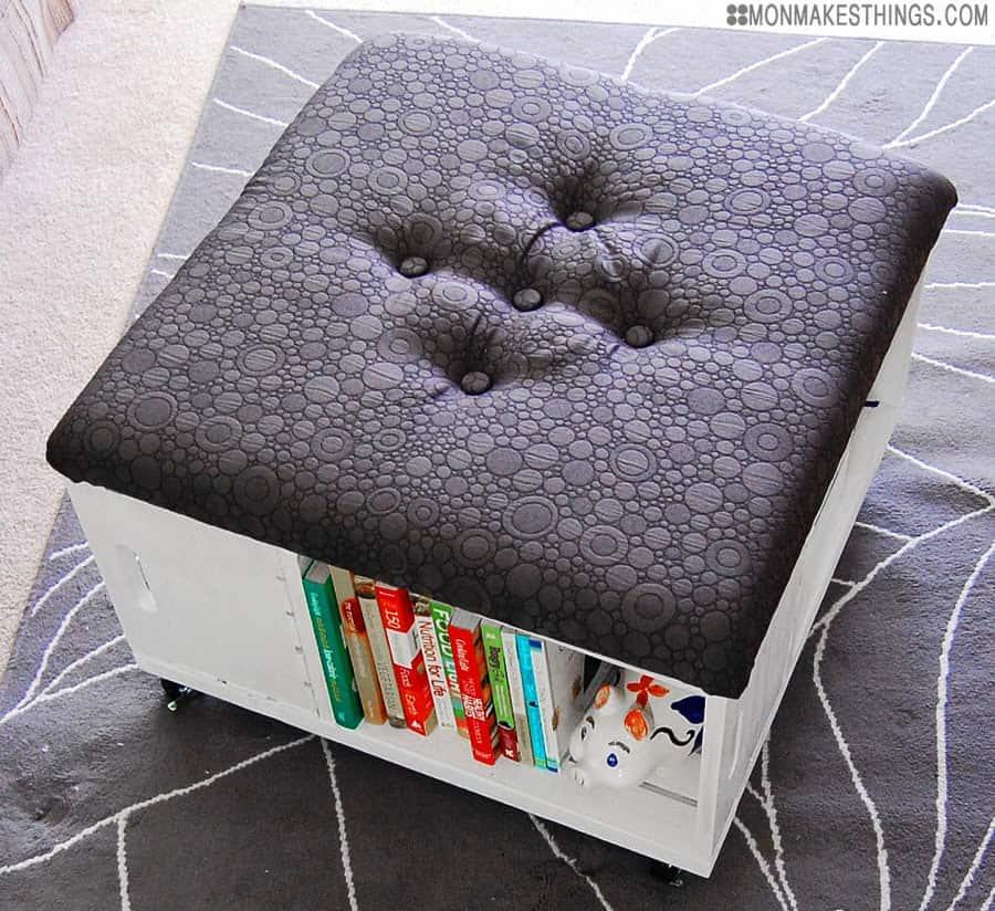 Book storage ottoman