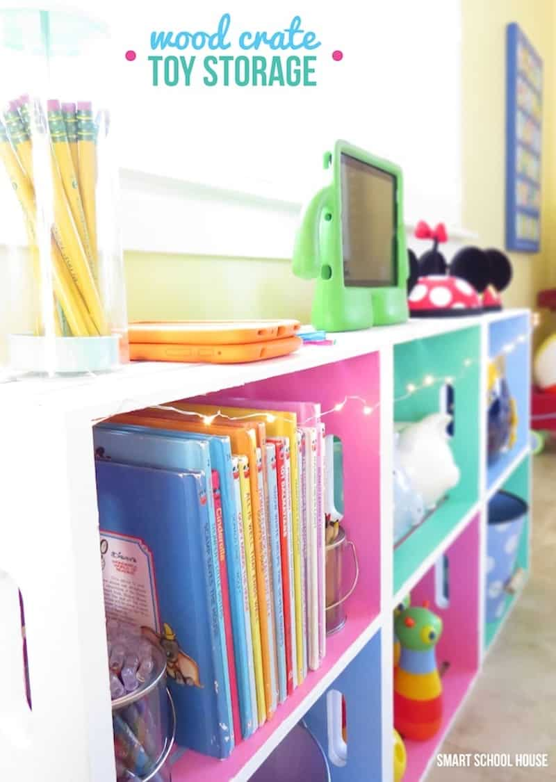 Brightly painted wood crate toy shelves