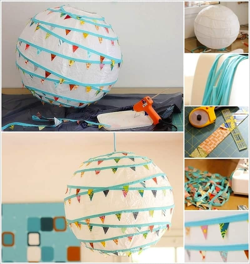 Bunting wrapped paper lantern