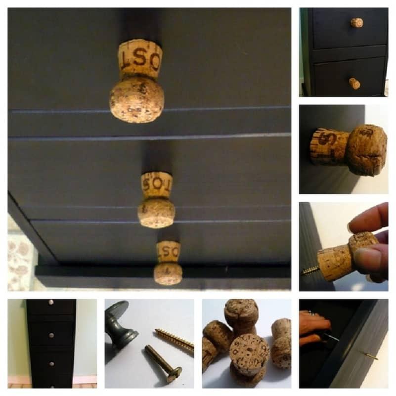 Champagne cork drawer knobs