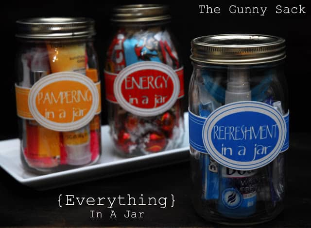 Color coded mason jar gifts