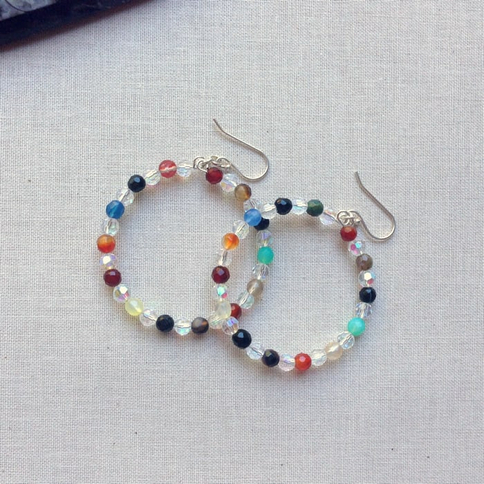 Colorful beads hoop earrings