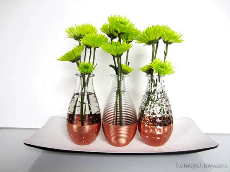 Copper dipped flower vases