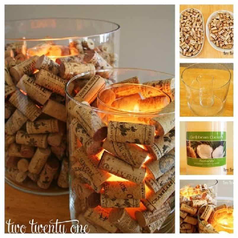 Cork filled candle votives