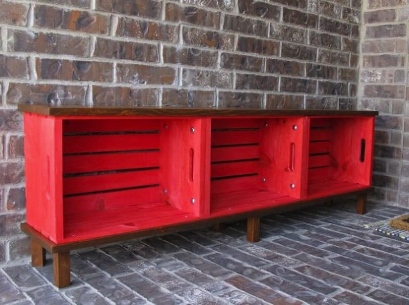 Crate cubby bench