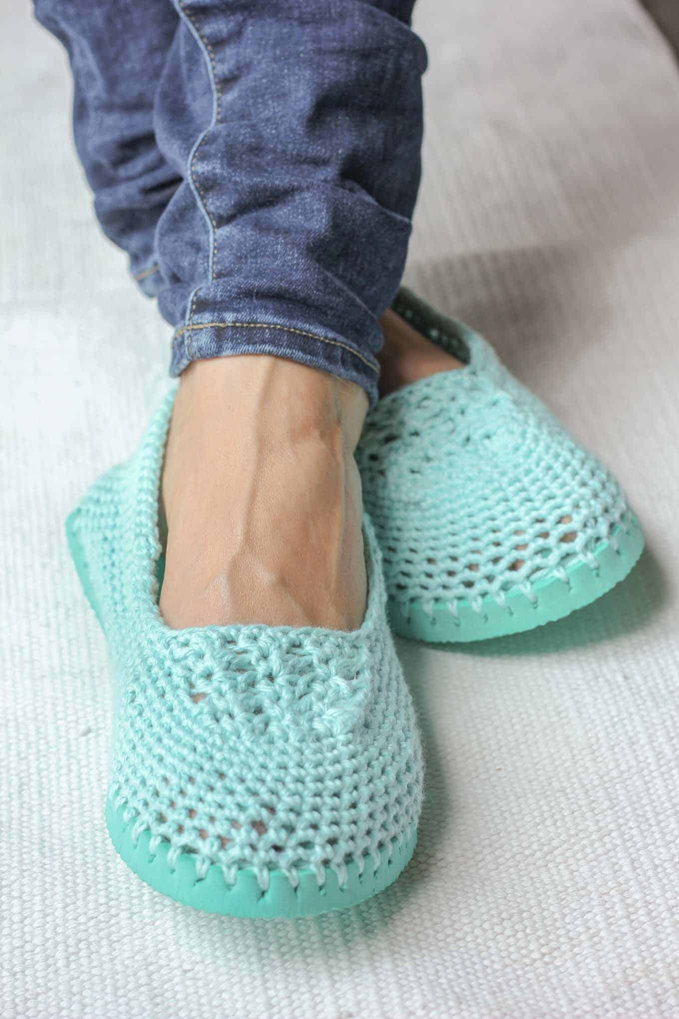 Crocheted summer shoes