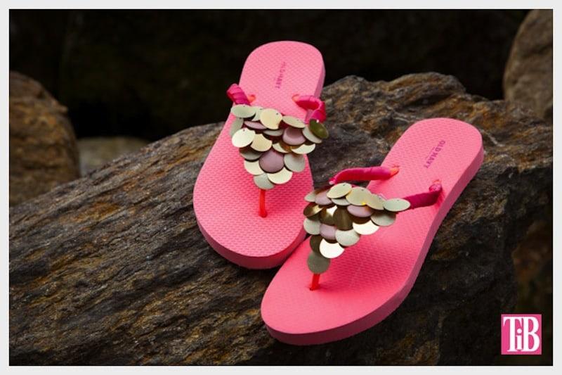 Disc sequin sandals