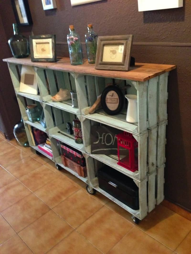 Distressed crate console table