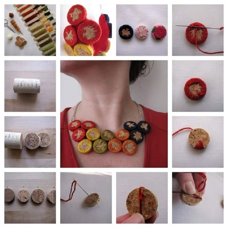 Embroidered cork jewelry