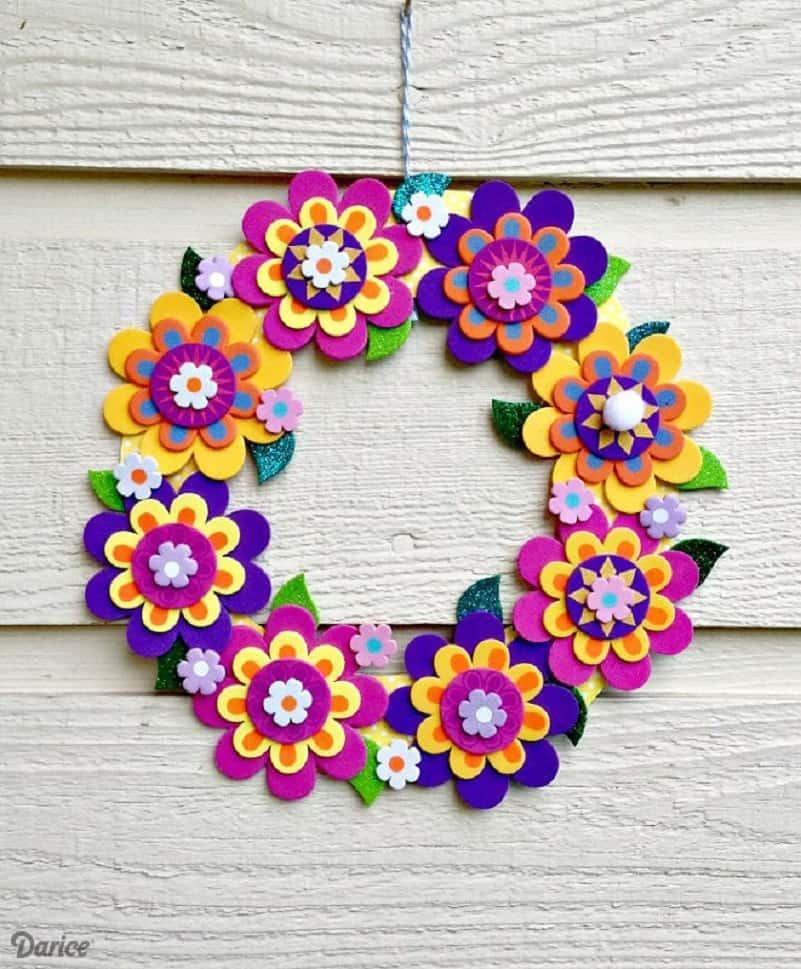 Foam flower wreath