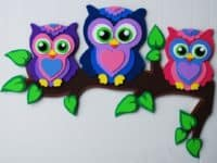 Foam owl family 200x150 Color and Creativity: Crafts made from Foam Paper
