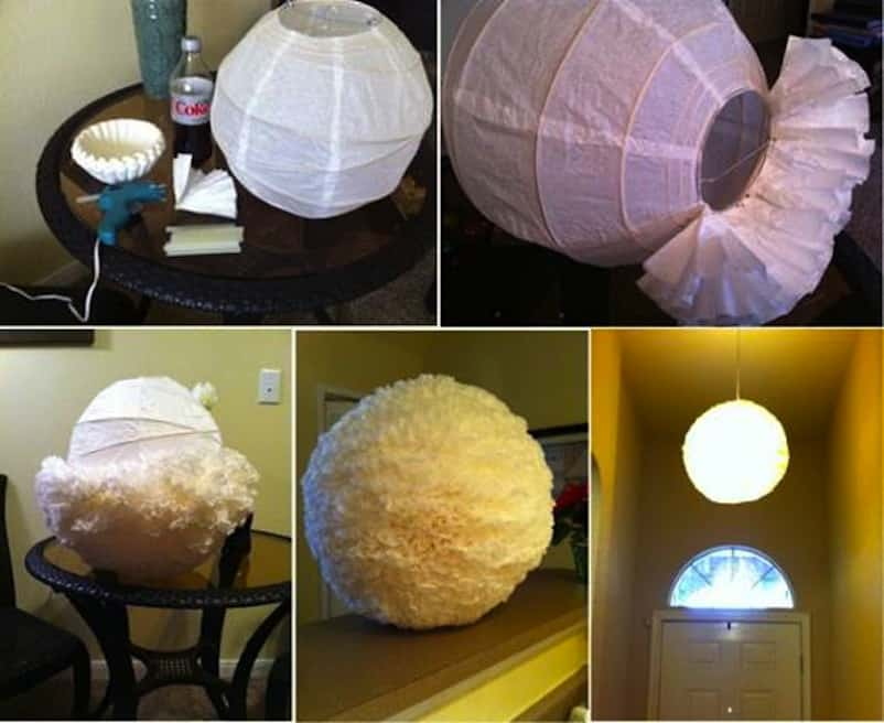 Frilly coffee filter lantern