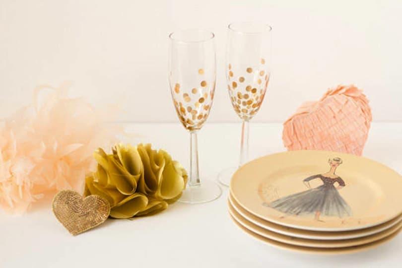 Gold polka dot champange glasses