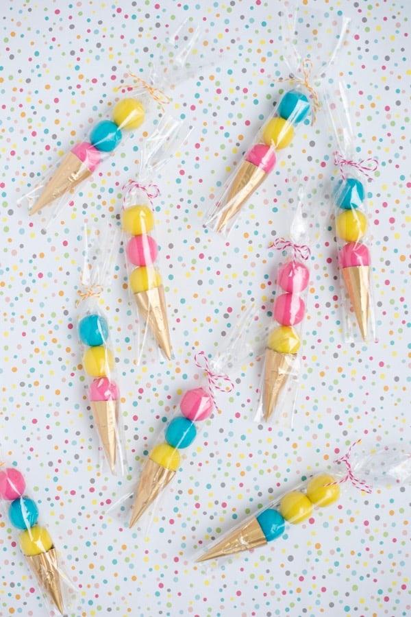 Gum ball ice cream cones
