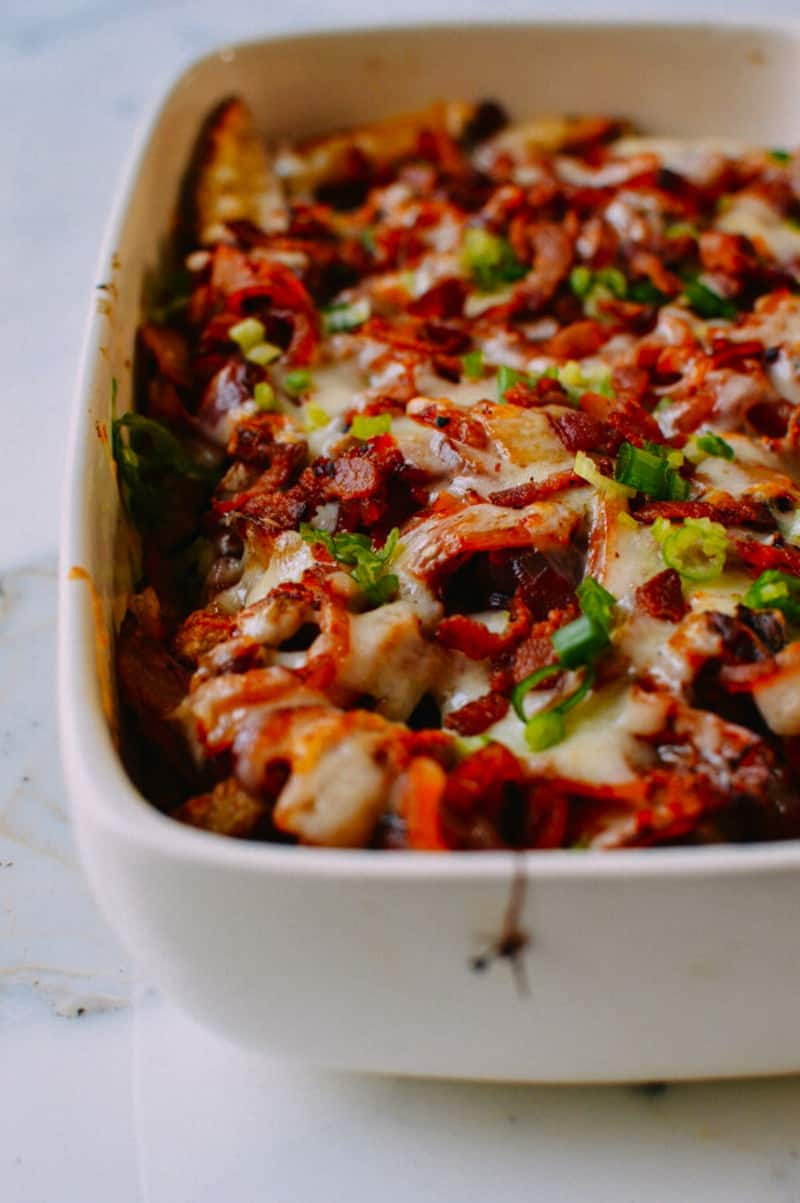 Kimchi, bacon, and onion French fry casserole