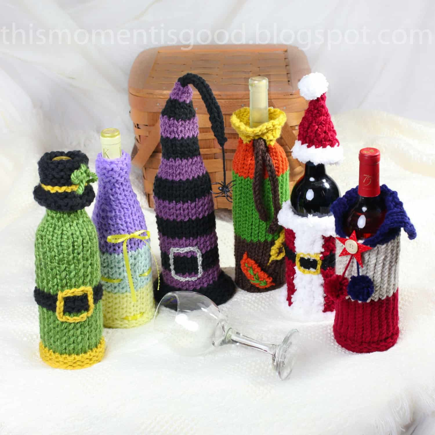 Knitted wine bottle covers