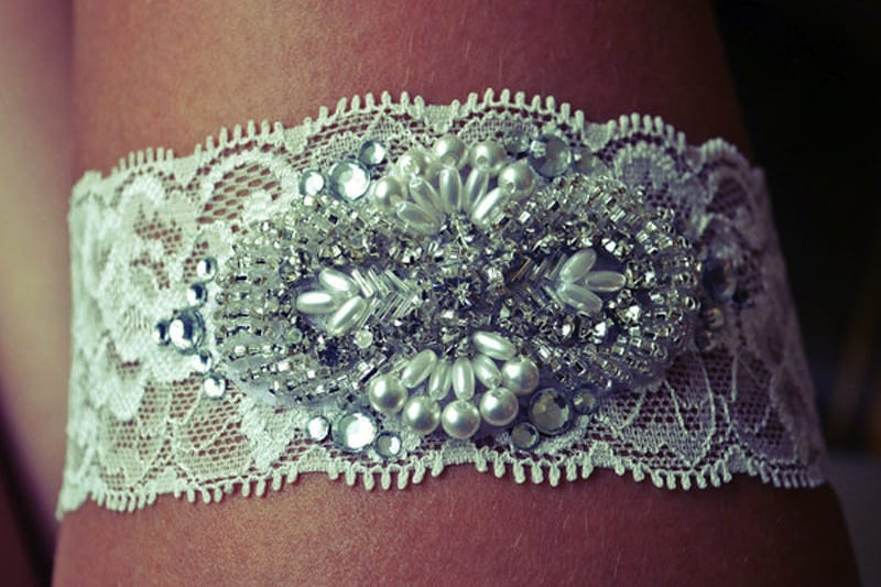 Lace and rhinestone applique garter