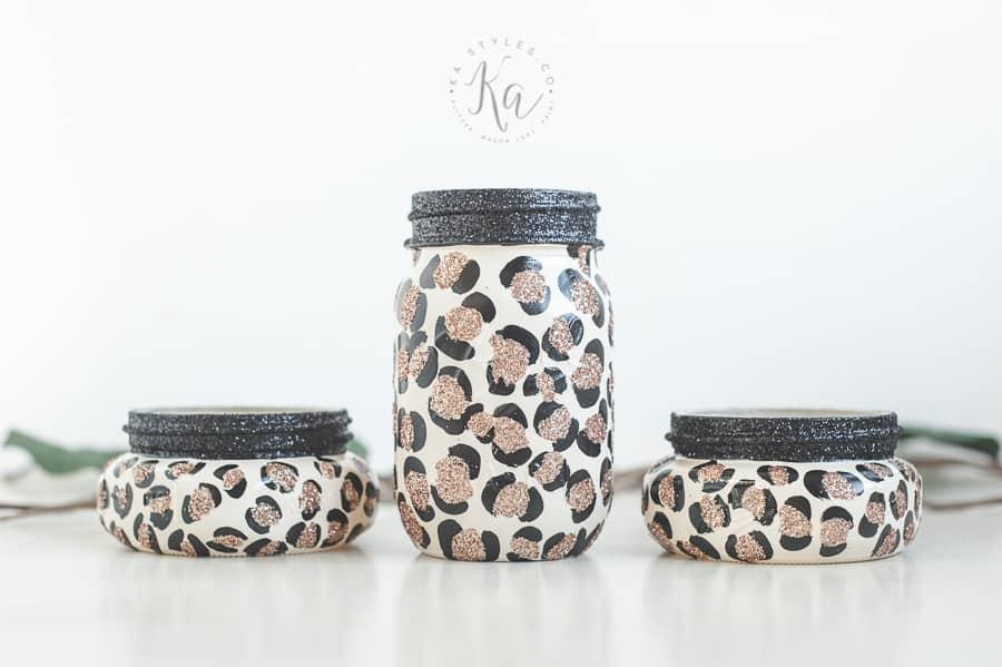 Leopard print mason jars