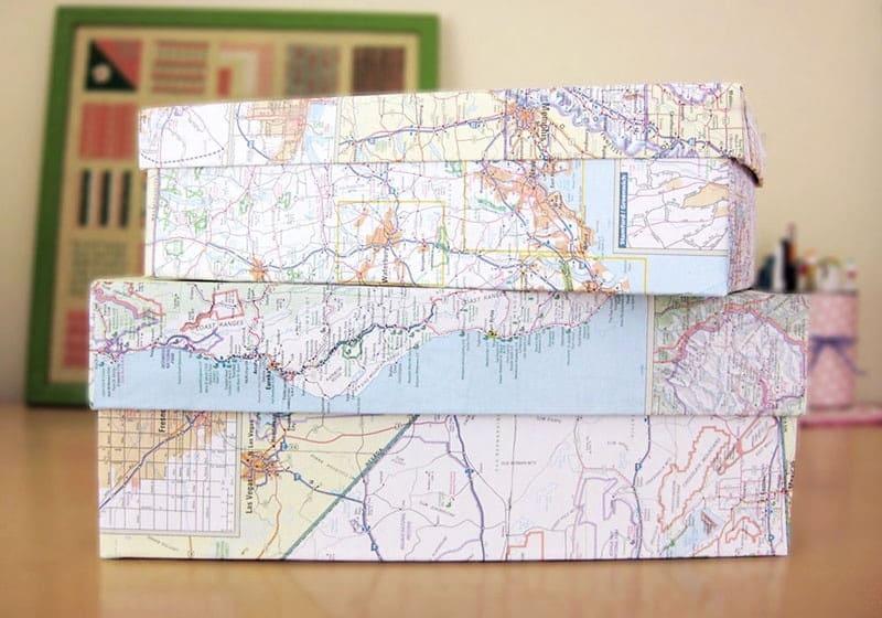 Map covered keepsake boxes