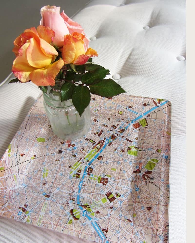 Map decoupage serving tray