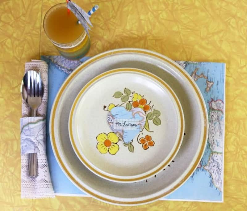 Map inspired place settings