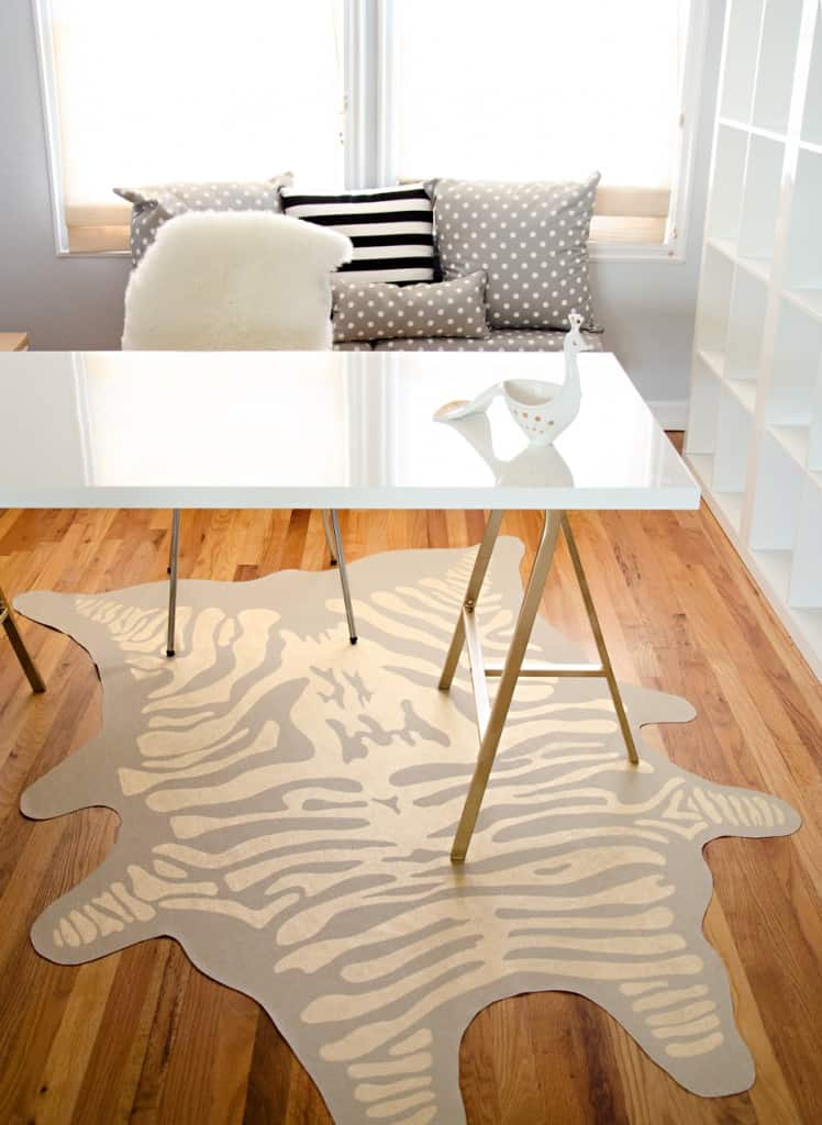 Metallic animal print rug