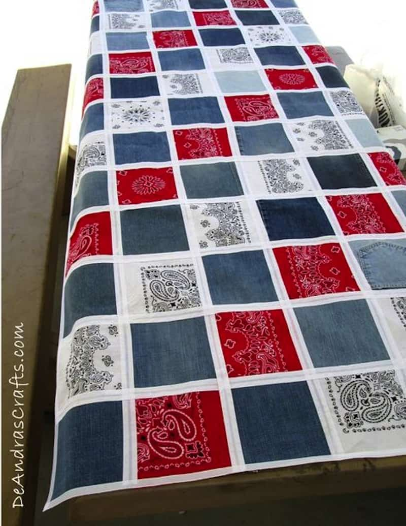No-sew bandana and denim patch quilt