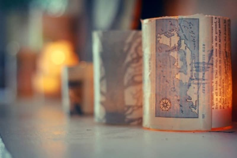 Old map candle votives