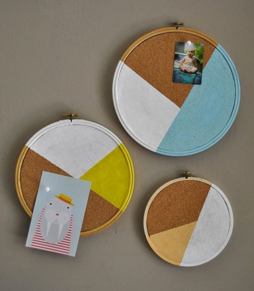 Painted embroidery ring cork boards