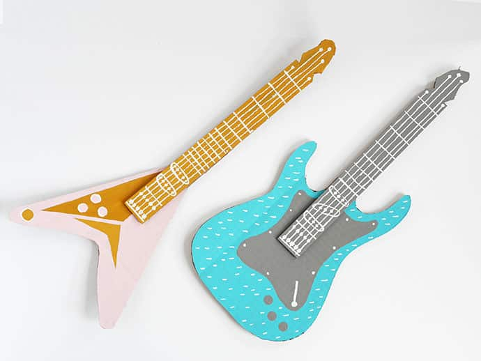 Painted toy guitars