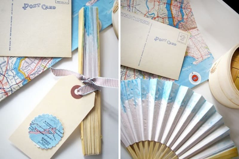 Paper fans made with maps