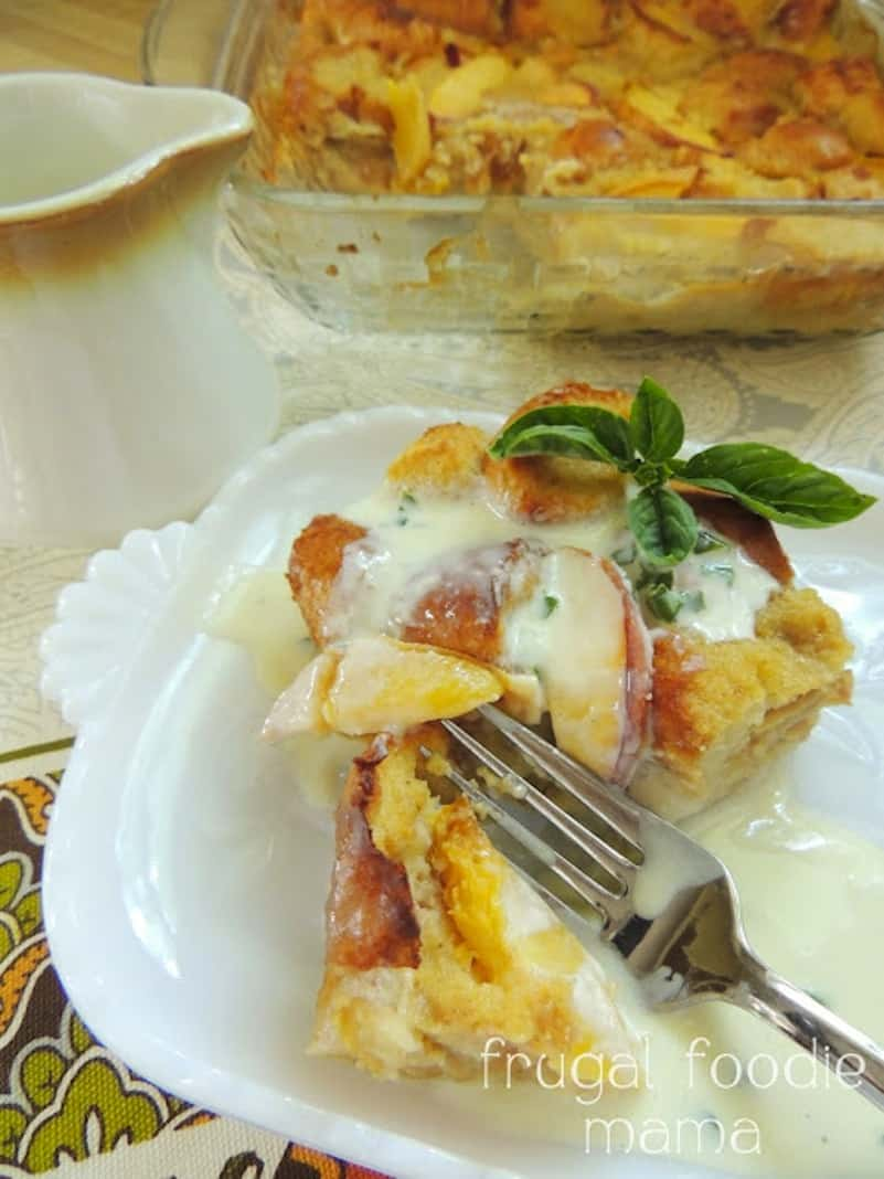 Peach bread pudding with sweet basil cream sauce